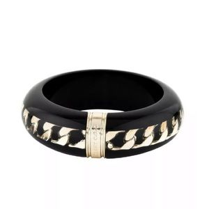 JIMMY CHOO Women's Black Resin Gold Chain Bangle